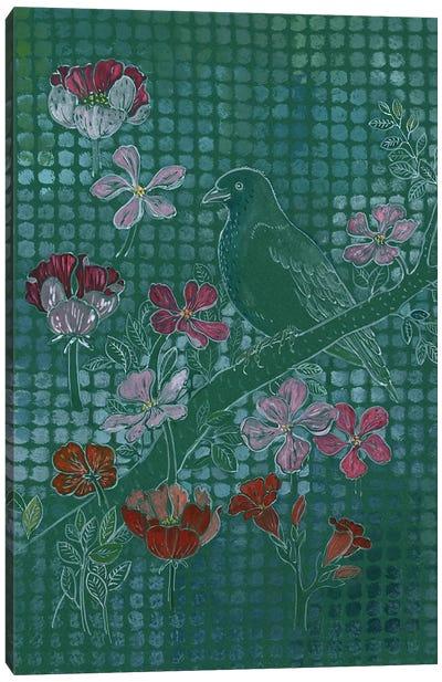 Bird On Green Canvas Art Print