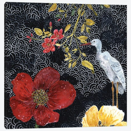 Heron With Red Flower Canvas Print #MET20} by Miri Eshet Canvas Wall Art