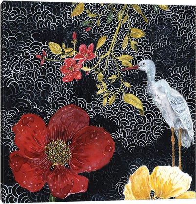Heron With Red Flower Canvas Art Print