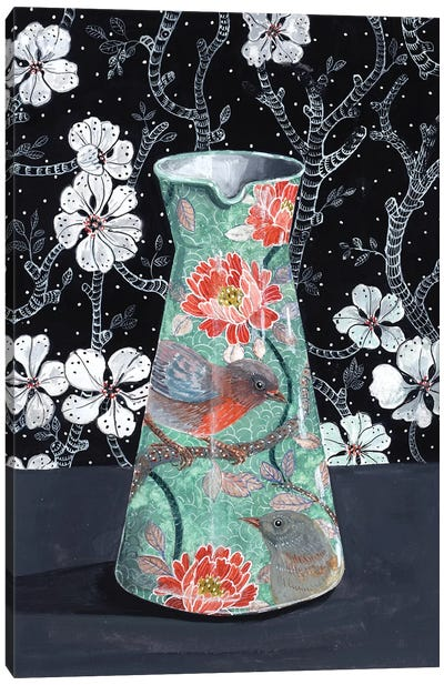 Jade Vase With Birds Canvas Art Print