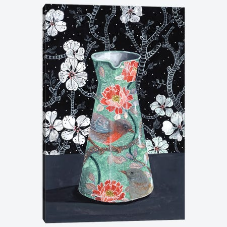 Jade Vase With Birds Canvas Print #MET21} by Miri Eshet Canvas Art