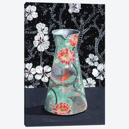 Jade Vase With Birds Canvas Print #MET21} by Miri Eshet Canvas Art