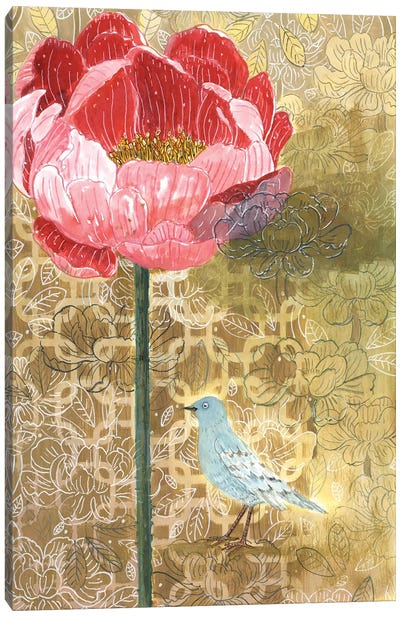 Little Bird With Pink Flower Canvas Art Print