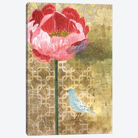 Little Bird With Pink Flower Canvas Print #MET22} by Miri Eshet Canvas Wall Art