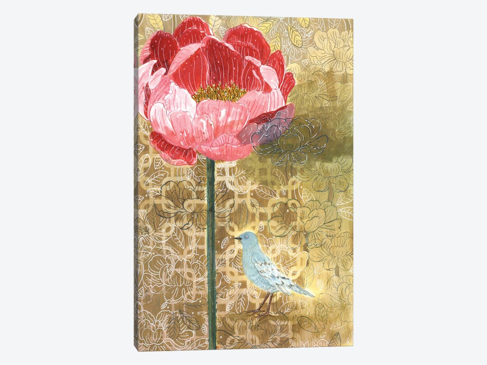 Little Bird With Pink Flower by Miri Eshet 1-piece Canvas Print
