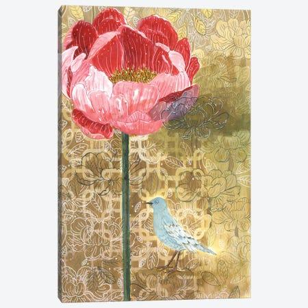 Little Bird With Pink Flower Canvas Print #MET22} by Miri Eshet Canvas Wall Art