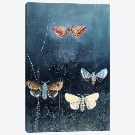 Night Moths On Blue Canvas Print #MET25} by Miri Eshet Canvas Art Print