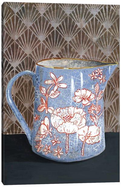 Pale Blue Floral Vase Canvas Art Print