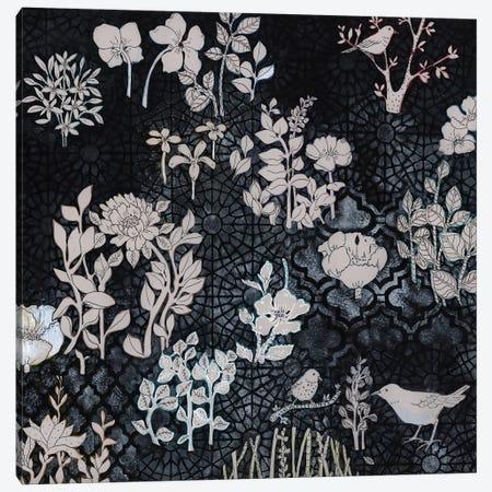 Pale Gray Botanical On Black Canvas Print #MET27} by Miri Eshet Canvas Print
