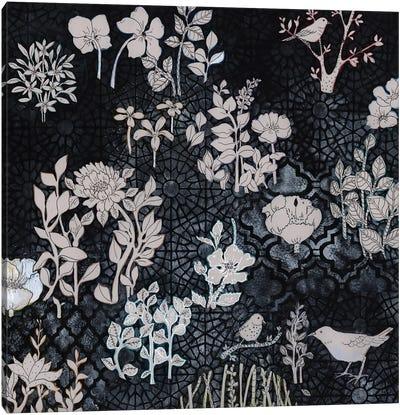 Pale Gray Botanical On Black Canvas Art Print
