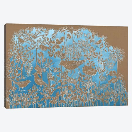 Blue Botanical On Craft Brown Canvas Print #MET2} by Miri Eshet Canvas Art