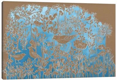 Blue Botanical On Craft Brown Canvas Art Print