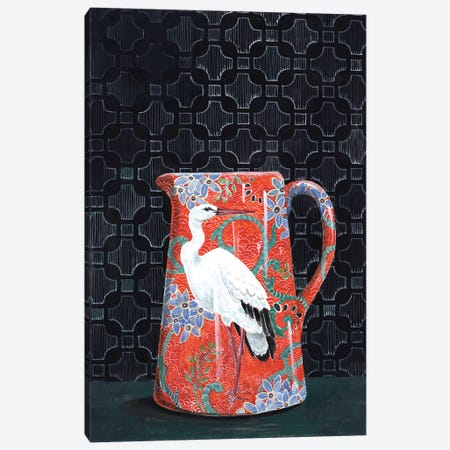 Red Pitcher With Stork Canvas Print #MET30} by Miri Eshet Canvas Print