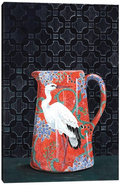 Red Pitcher With Stork Canvas Art Print