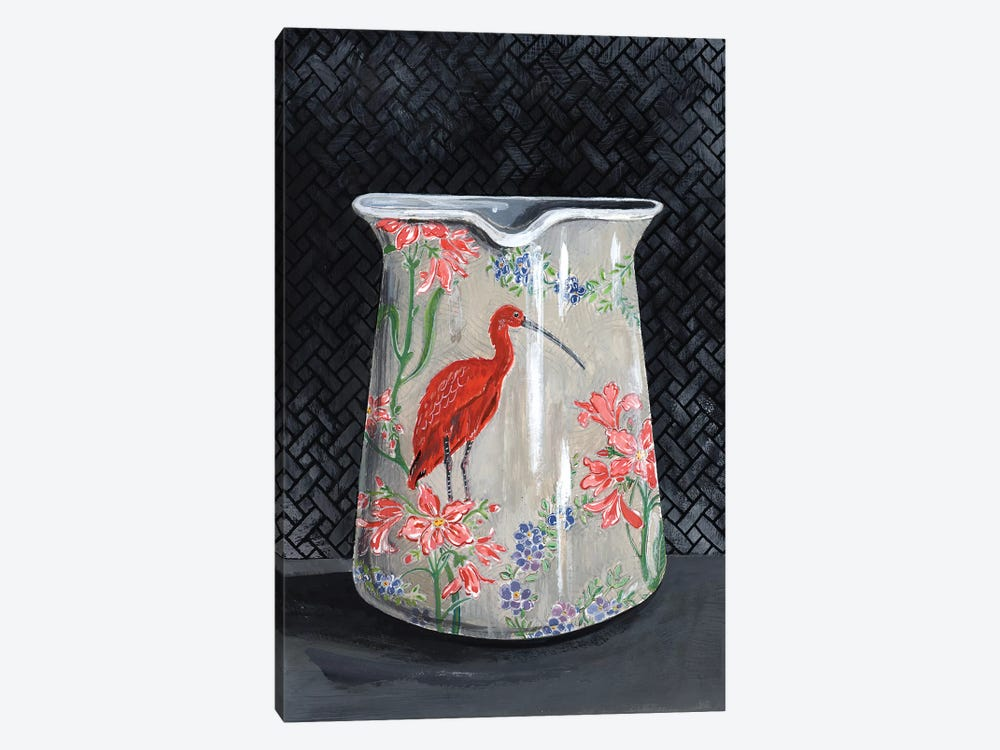 Scarlet Ibis Vase by Miri Eshet 1-piece Canvas Artwork