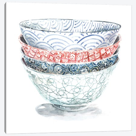 Stacked Pattern Bowls Canvas Print #MET33} by Miri Eshet Art Print
