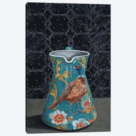 Turquoise Pitcher With Pheasant Canvas Print #MET34} by Miri Eshet Canvas Artwork