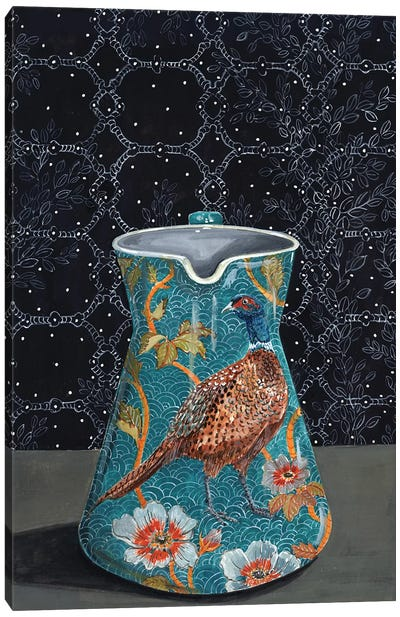 Turquoise Pitcher With Pheasant Canvas Art Print
