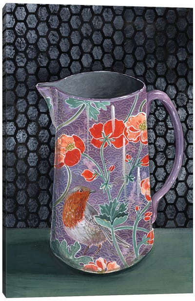 Violet Vase With Robin Canvas Art Print