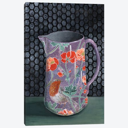 Violet Vase With Robin Canvas Print #MET35} by Miri Eshet Canvas Artwork