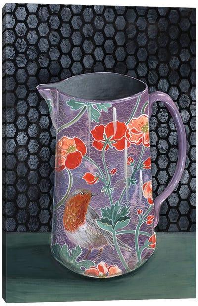 Violet Vase With Robin Canvas Art Print