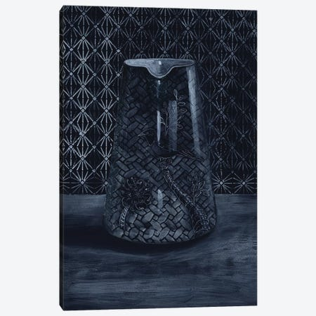 White On Black Vase Canvas Print #MET36} by Miri Eshet Canvas Wall Art