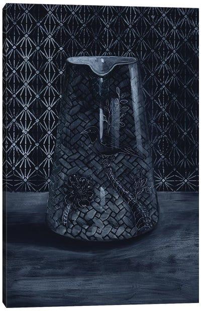 White On Black Vase Canvas Art Print