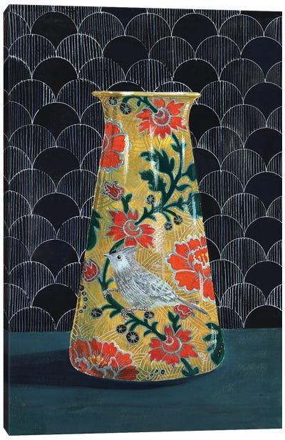 Yellow Vase With Titmouse Bird Canvas Art Print
