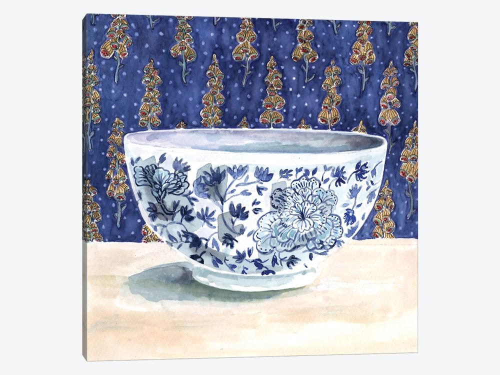 Blue China With Floral Wallpaper by Miri Eshet 1-piece Art Print