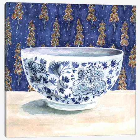 Blue China With Floral Wallpaper Canvas Print #MET5} by Miri Eshet Canvas Art Print