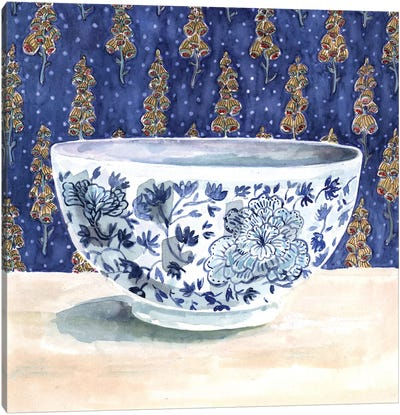 Blue China With Floral Wallpaper Canvas Art Print