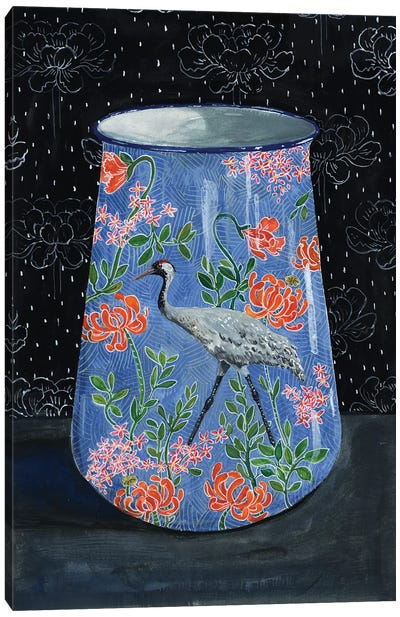 Blue Vase With Gray Crane Canvas Art Print