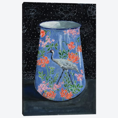Blue Vase With Gray Crane Canvas Print #MET6} by Miri Eshet Art Print