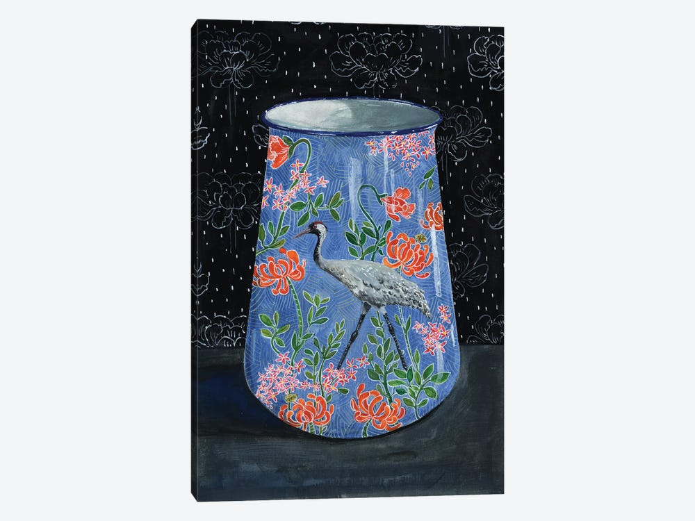 Blue Vase With Gray Crane by Miri Eshet 1-piece Canvas Wall Art