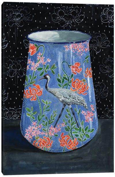 Blue Vase With Gray Crane Canvas Art Print