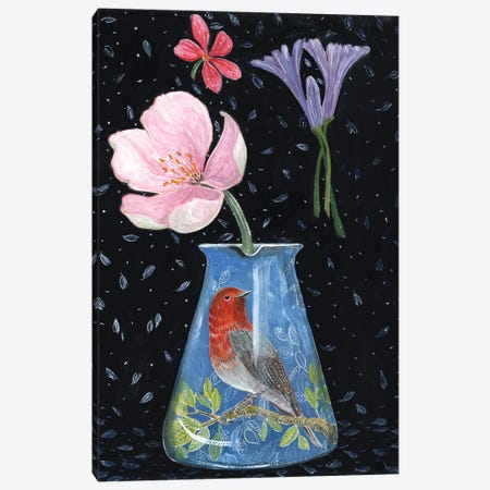 Blue Vase With Robin Canvas Print #MET7} by Miri Eshet Canvas Print