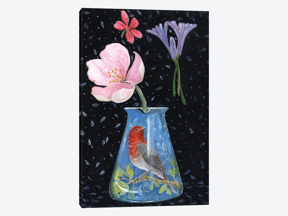 Blue Vase With Robin by Miri Eshet 1-piece Canvas Art Print
