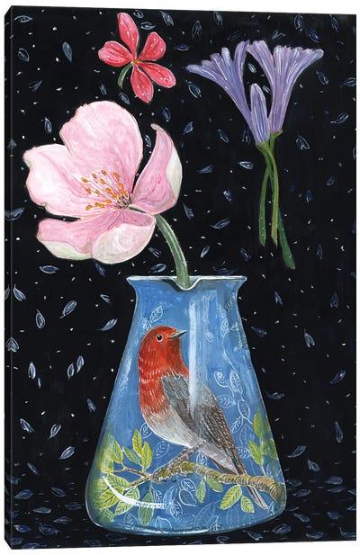 Blue Vase With Robin Canvas Art Print