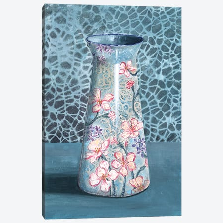 Blue-Gray Floral Vase Canvas Print #MET9} by Miri Eshet Canvas Wall Art