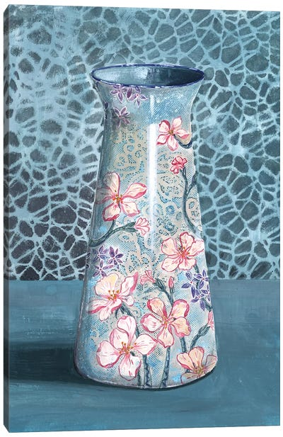 Blue-Gray Floral Vase Canvas Art Print