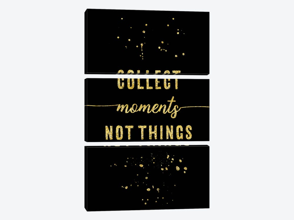 Gold Collect Moments Not Things by Melanie Viola 3-piece Canvas Artwork