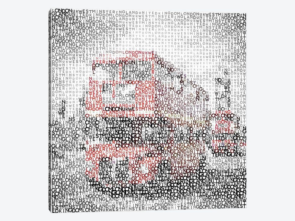 Typographic London Westminster Bridge Buses by Melanie Viola 1-piece Canvas Art Print
