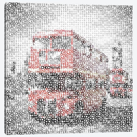 Typographic London Westminster Bridge Buses Canvas Print #MEV111} by Melanie Viola Canvas Artwork