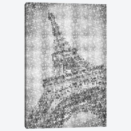 Typographic Paris Eiffel Tower And Hearts | Silver Canvas Print #MEV112} by Melanie Viola Canvas Wall Art
