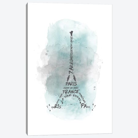 Watercolor Art Eiffel Tower In Turquoise Canvas Print #MEV117} by Melanie Viola Canvas Print