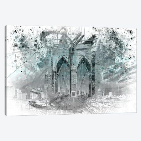 Brooklyn Bridge In Turquoise Canvas Print #MEV11} by Melanie Viola Canvas Art Print