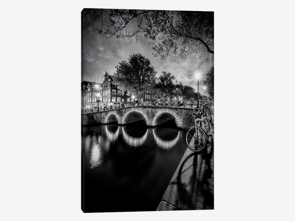 Amsterdam Idyllic Nightscape From Keizersgracht by Melanie Viola 1-piece Canvas Artwork