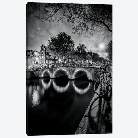 Amsterdam Idyllic Nightscape From Keizersgracht Canvas Print #MEV121} by Melanie Viola Canvas Art Print