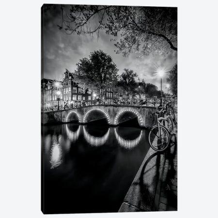 Amsterdam Idyllic Nightscape From Keizersgracht Canvas Print #MEV121} by Melanie Viola Canvas Art Print