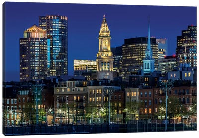 Boston Evening Skyline Of North End & Financial District Canvas Art Print
